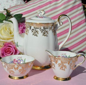 Windsor Vintage Bone China Teapot, Milk Jug and Sugar Bowl Set c.1950s