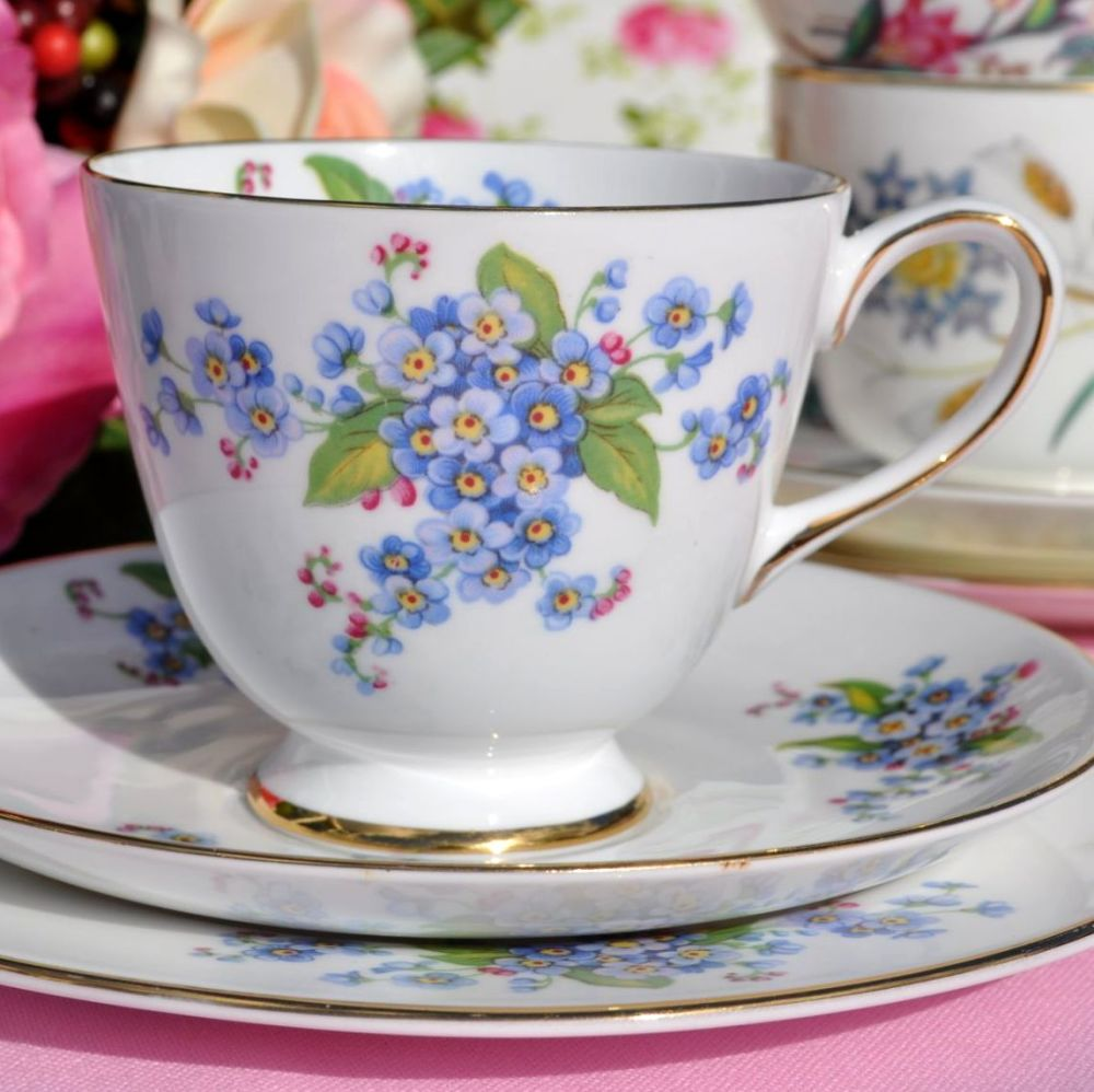 Tuscan Forget-Me-Not Fine English Bone China Tea Trio