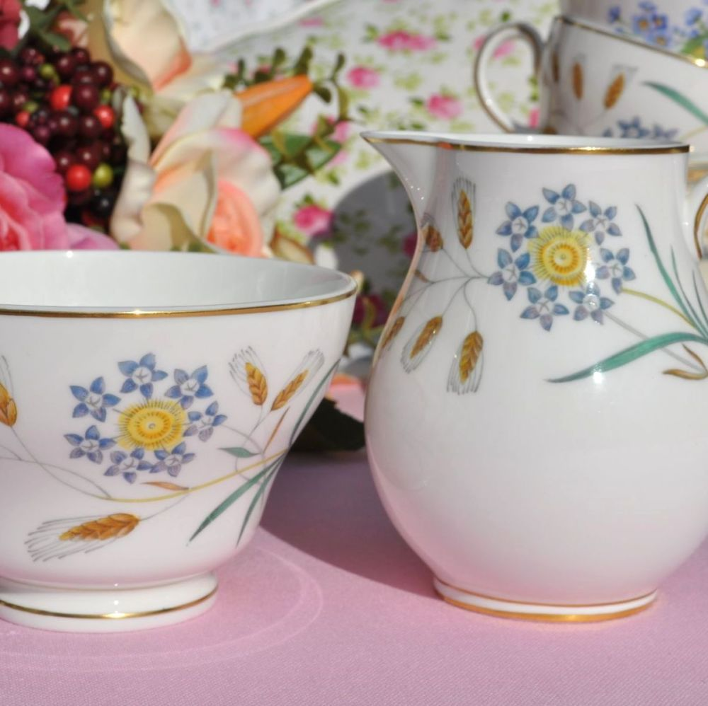 Wedgwood Wheatear W4051 Bone China Milk Jug and Sugar Bowl