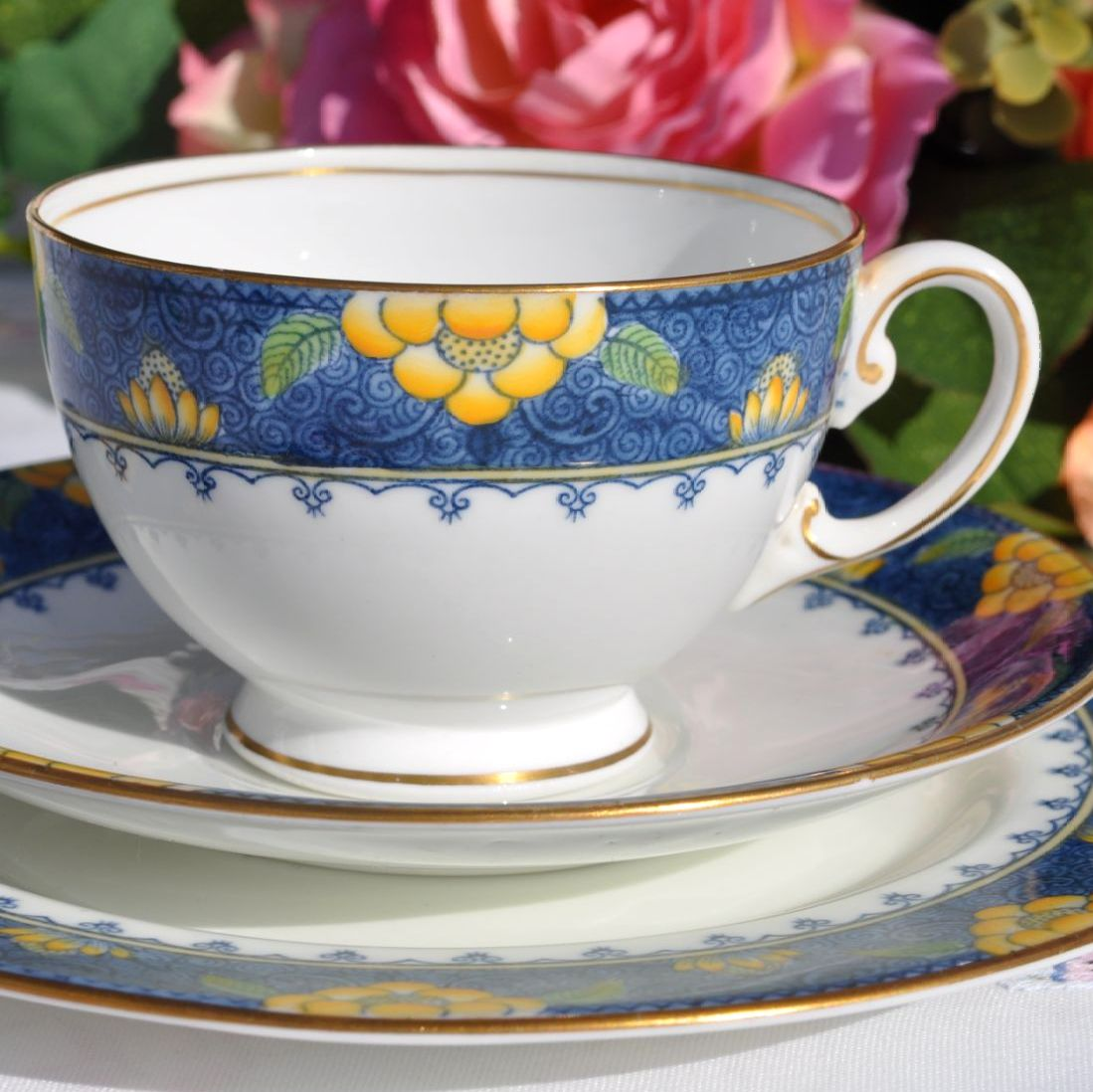 Aynsley Blue and Yellow Vintage Bone China Teacup Trio c.1925-34