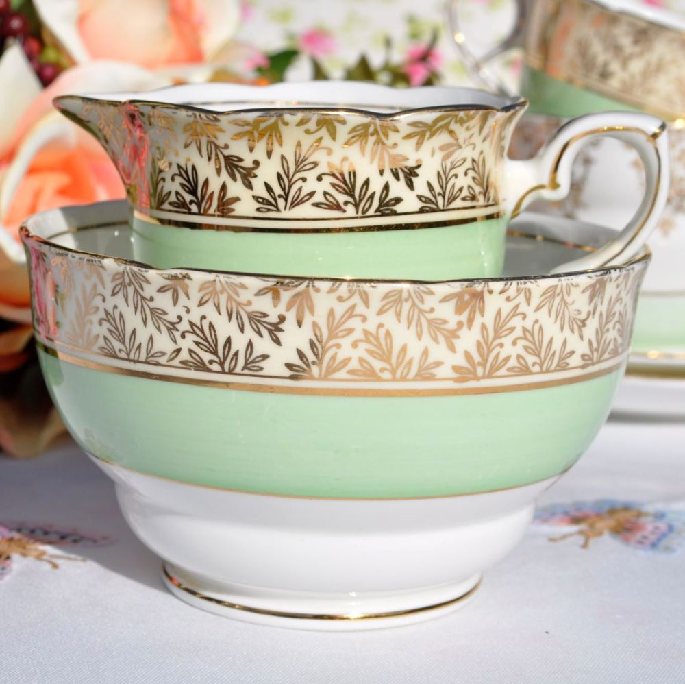 Royal Stafford Gold and Green 1950's Milk Jug and Sugar Bowl