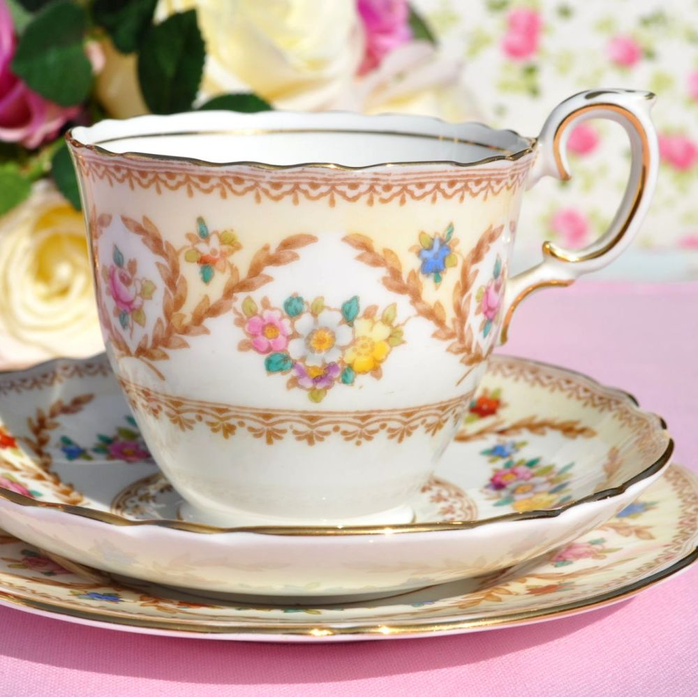 Crown Staffordshire Floral Vintage Teacup Trio c.1930's