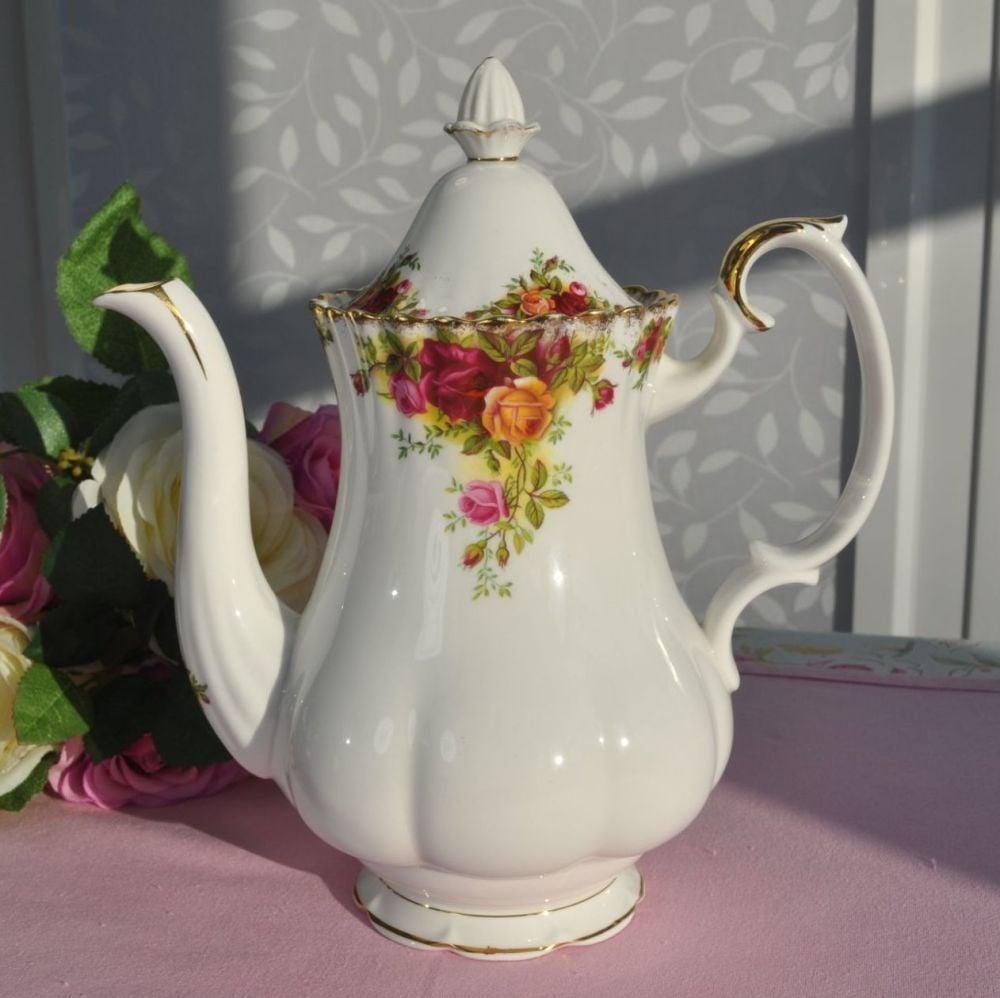 Royal Albert Old Country Roses Vintage Bone China Tea or Coffee Pot c.1962+
