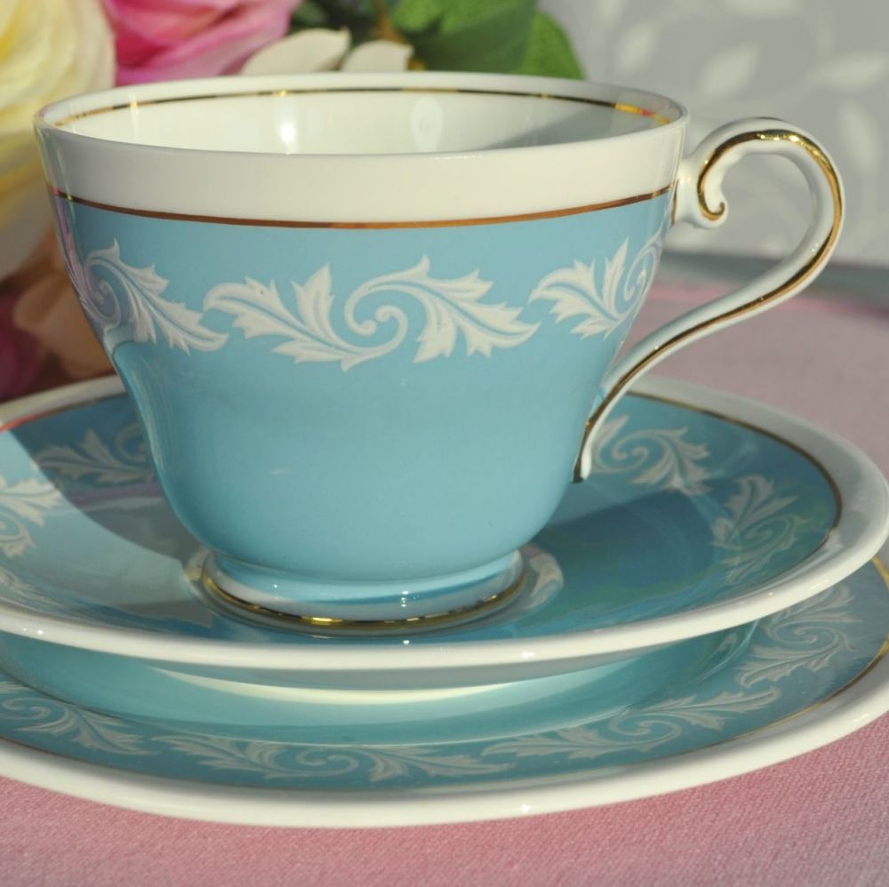 Aynsley 'Wedgwood Blue' and White Vintage Jasperware Style Trio