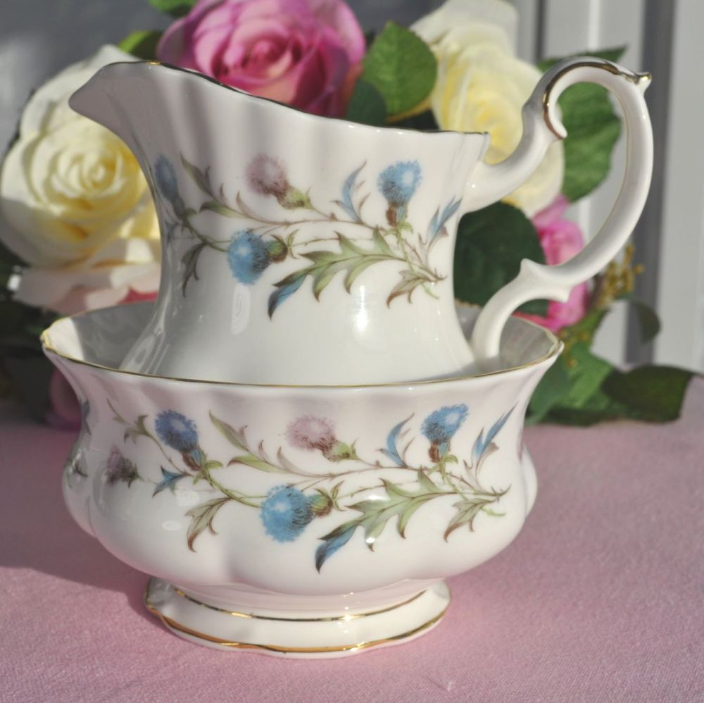Royal Albert Brigadoon Bone China Vintage Milk Jug and Sugar Bowl c.1963+