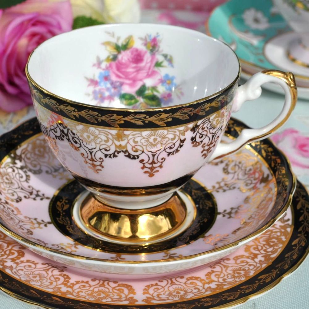 Tuscan Pink Floral, Black and Gold Vintage China Teacup Trio c.1940's