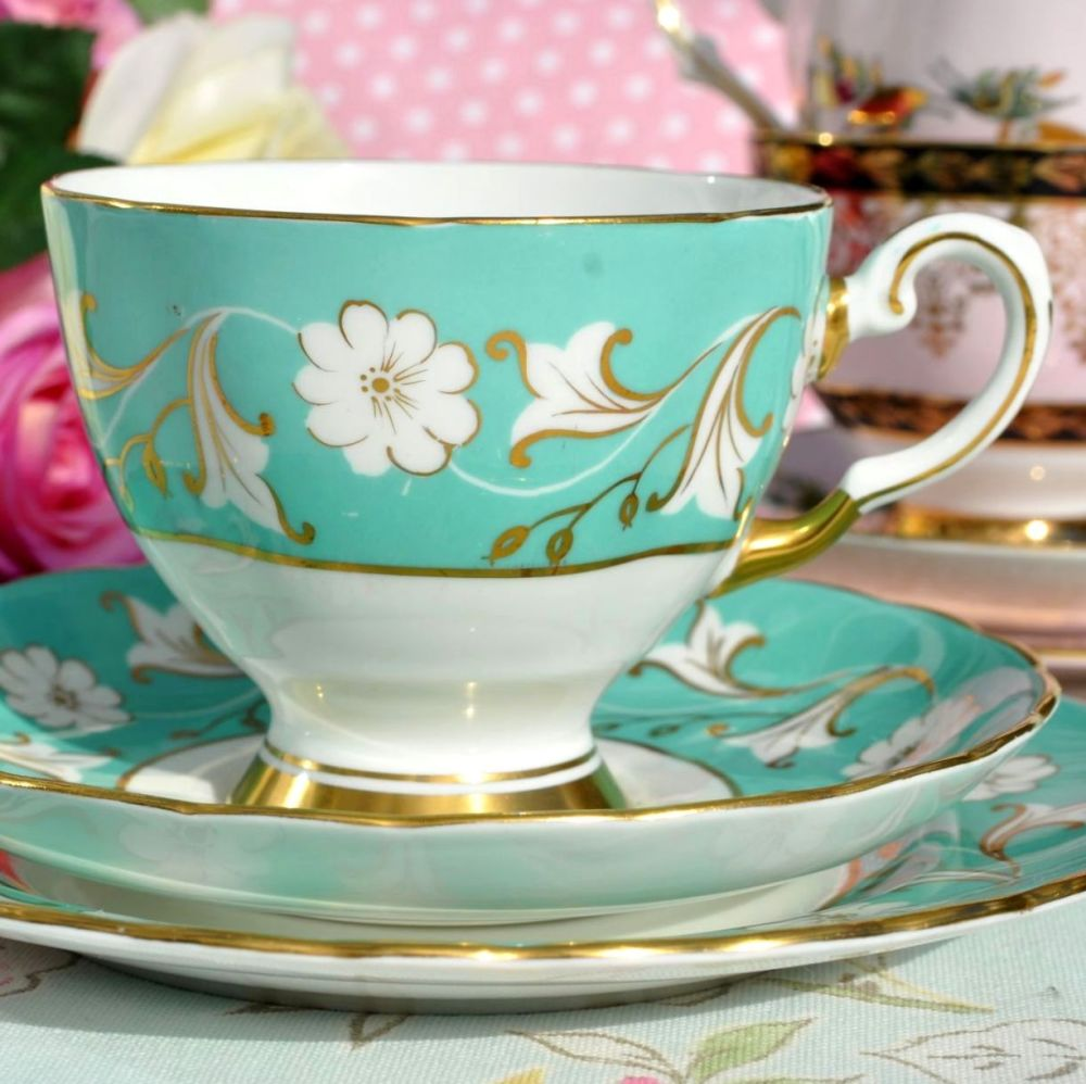 Tuscan Duck Egg and Gold Vintage China Teacup Trio c.1940's
