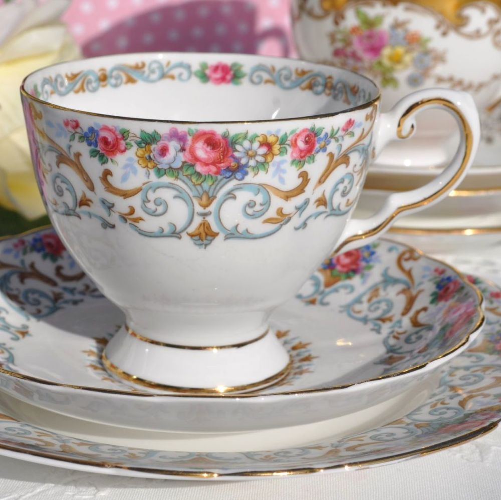 Tuscan Orleans Vintage Fine Bone China Teacup, Saucer and Tea Plate c.1940'