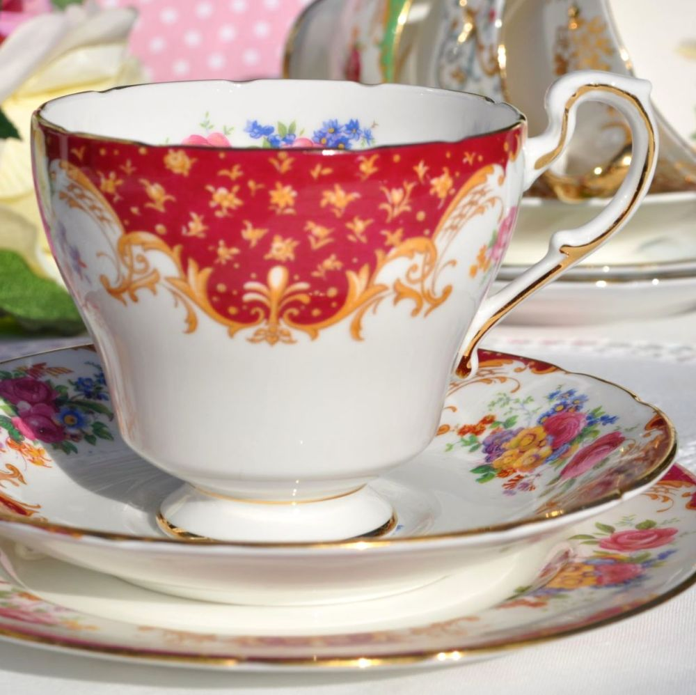 Paragon Rockingham Red Vintage Fine Bone China Teacup Trio