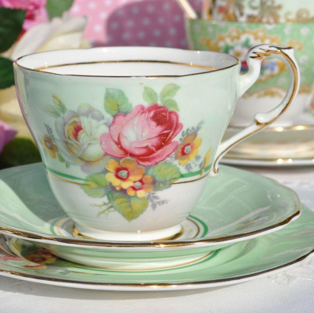 Paragon Pale Green and Pink Rose Vintage Fine Bone China Tea Trio c.1950s