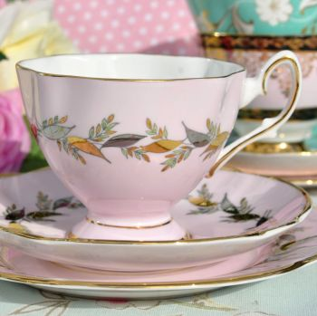 Salisbury Baby Pink, Silver and Gold and Vintage China Teacup Trio c.1930's