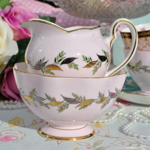 Salisbury Baby Pink, Silver and Gold and Vintage Milk Jug and Sugar Bowl c.