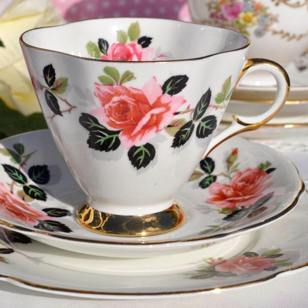 Windsor China Pink Rose Vintage Teacup, Saucer and Tea Plate c.1960's