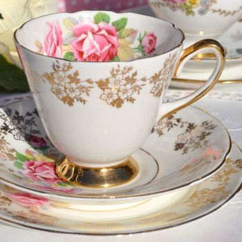 Old Royal Pink Rose and Gold Vintage Teacup, Saucer and Tea Plate