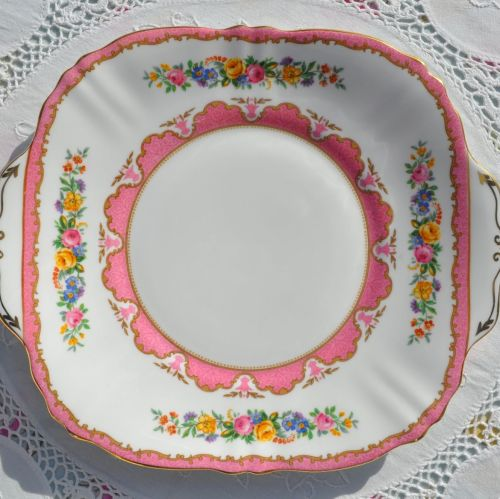Crown Staffordshire Tunis Pink Cake Plate c.1930+