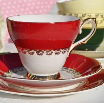 Sutherland Red and Gold Fine Bone China Vintage Teacup Trio