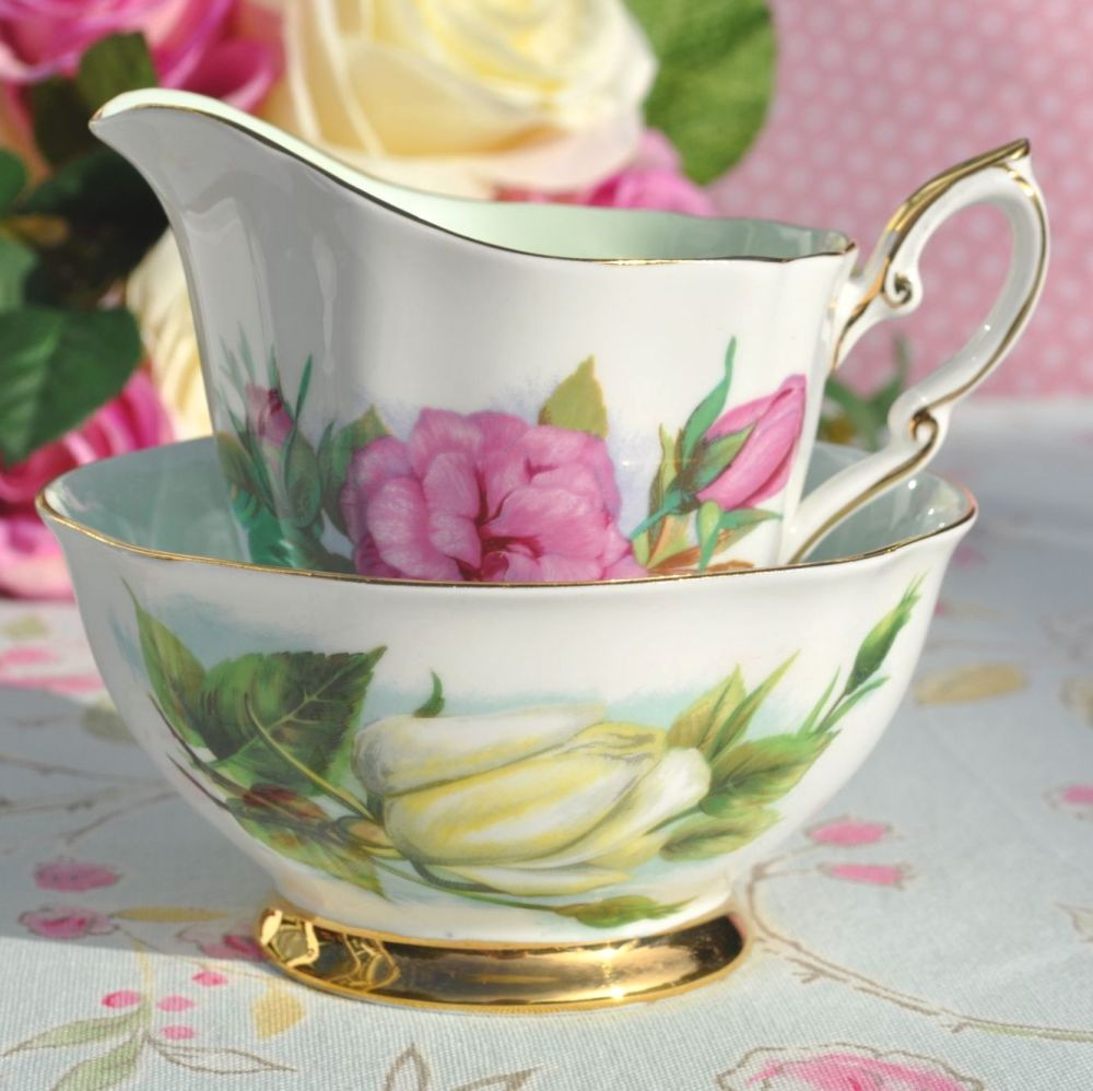 World Famous Roses Prelude and Virgo Milk Jug and Sugar Bowl c.1960's
