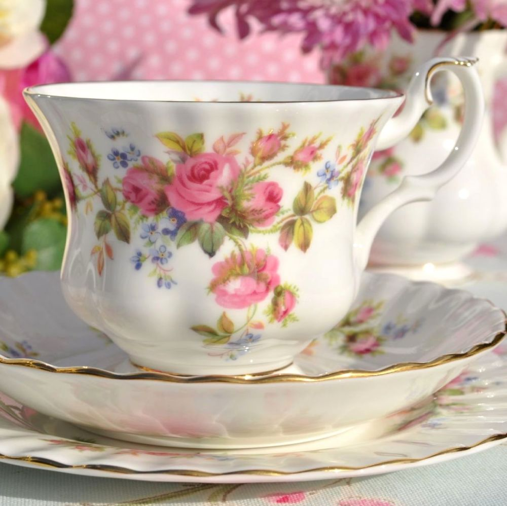 Royal Albert Moss Rose Vintage Bone China Teacup Trio c.1962