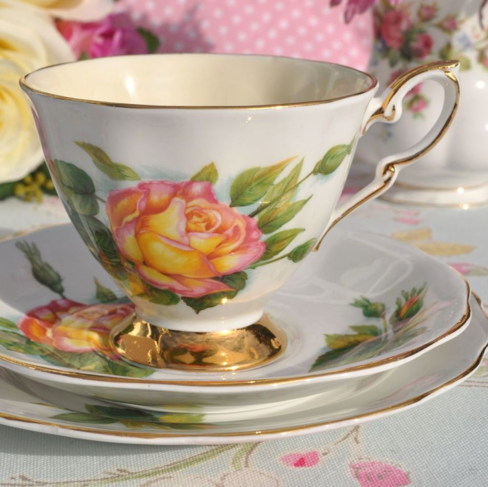 World Famous Roses Peace Pattern Vintage China Teacup Trio c.1960's