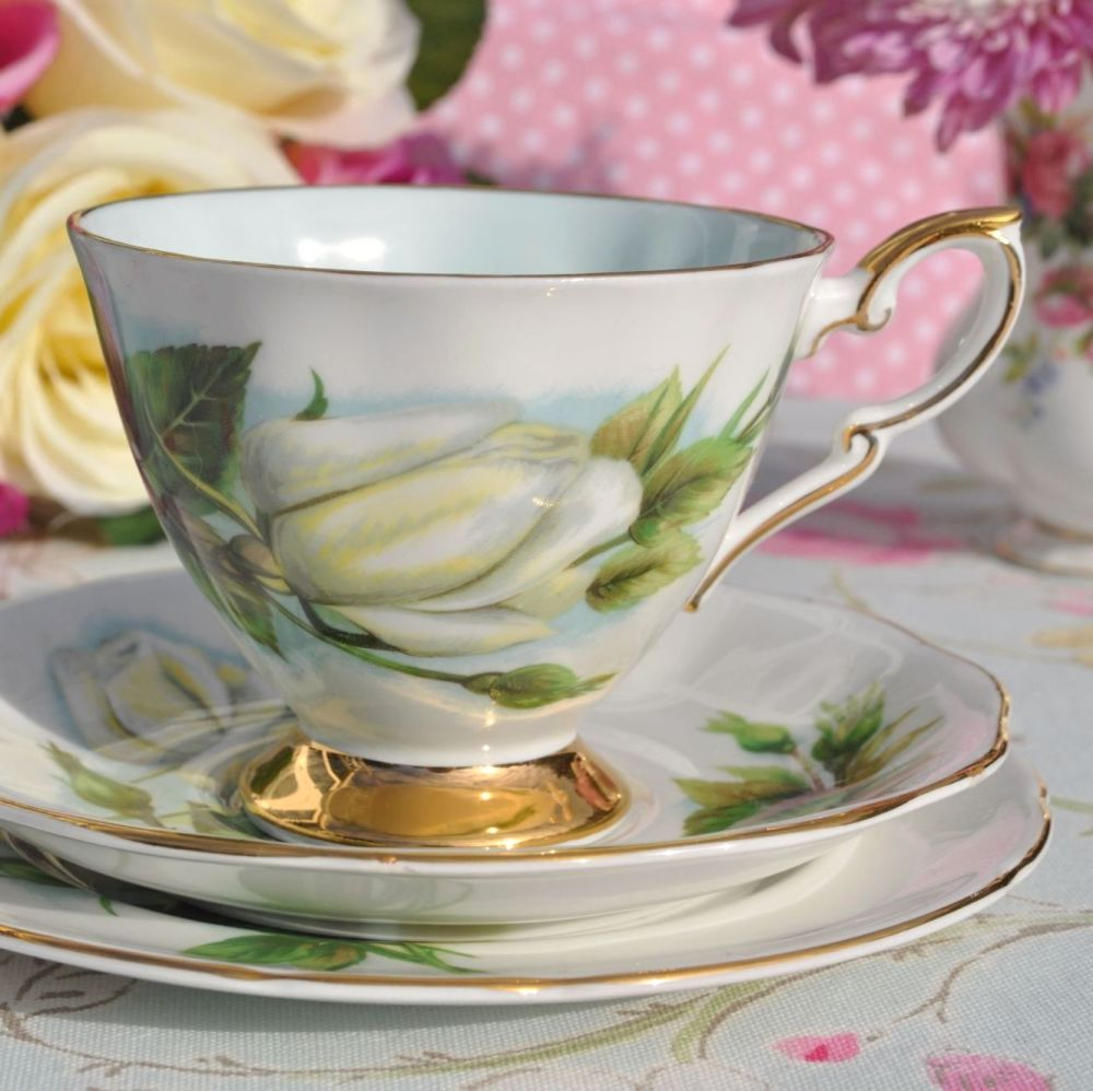 World Famous Roses Virgo Pattern Vintage China Teacup Trio c.1960's