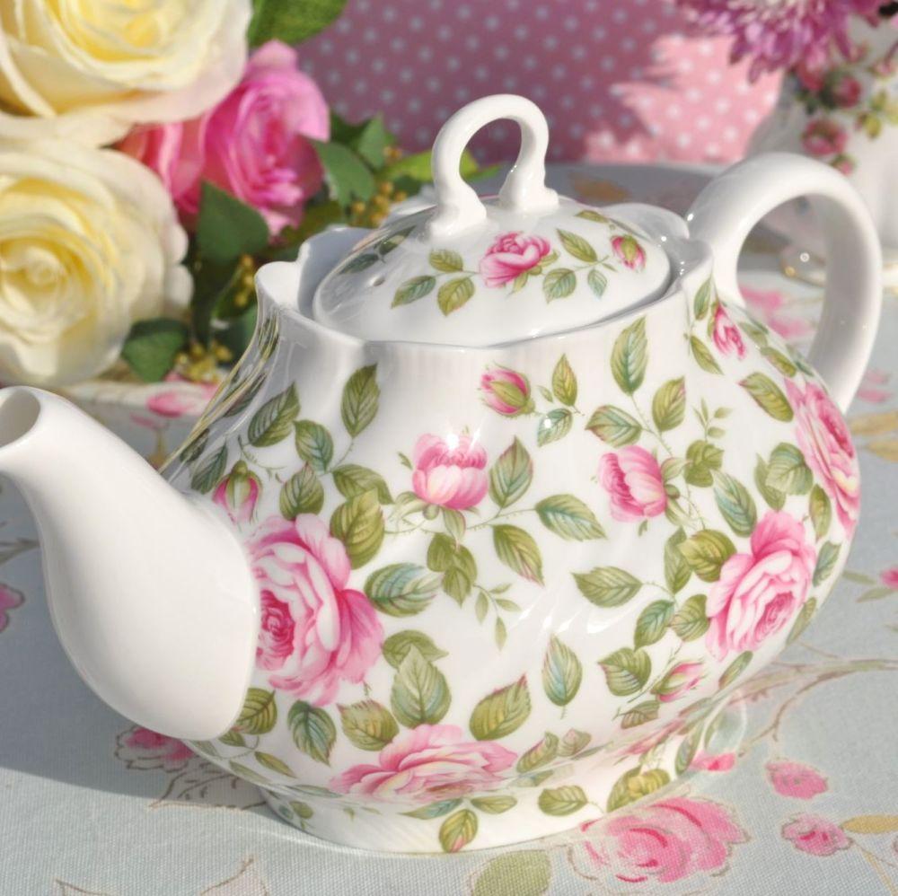 Queen's Cottage Garden Pink Rose China  2 Pint Teapot