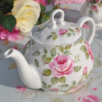 Queen's Cottage Garden Pink Rose China One Pint Teapot