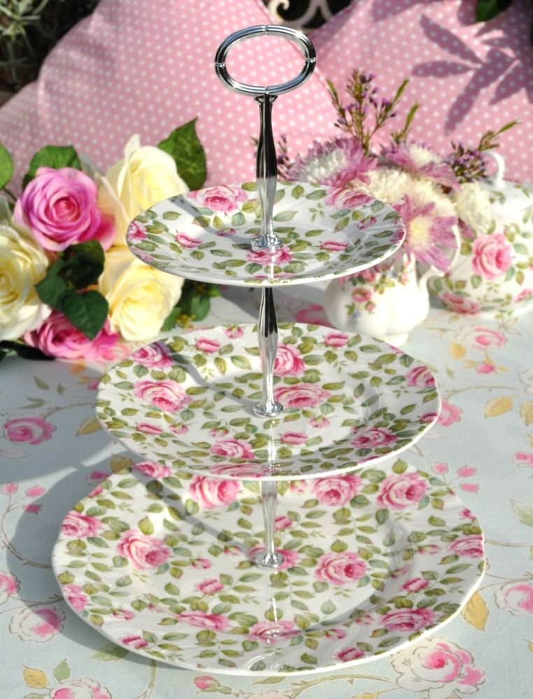 Queen's Cottage Garden Pink Rose China 3 Tiered Cake Stand