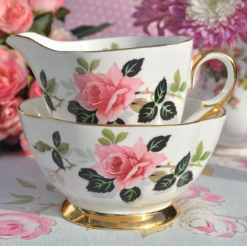 Windsor China Pink Rose Vintage Milk Jug and Sugar Bowl c.1960's