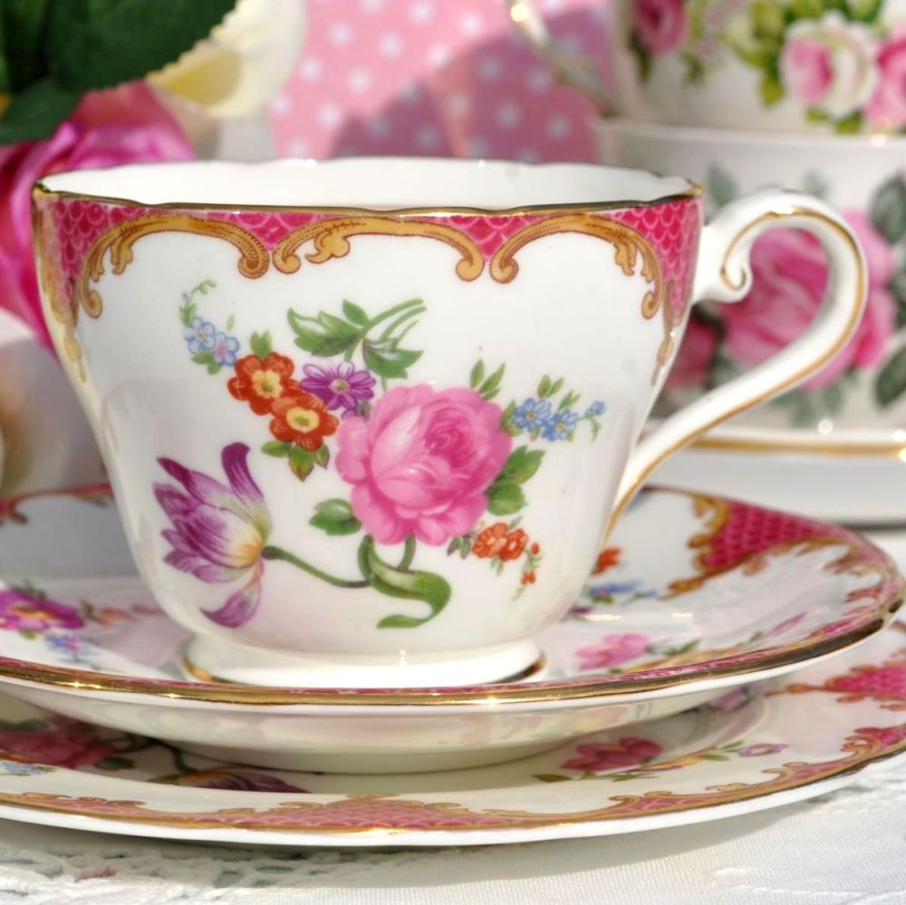 Aynsley Pink Floral English Fine Bone China Teacup, Saucer and Tea Plate