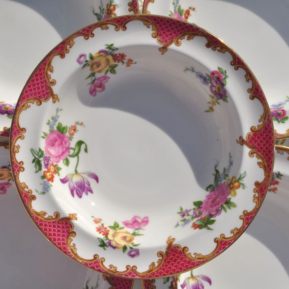 Aynsley Pink Floral Vintage Bone China Set of Six Dessert Dishes