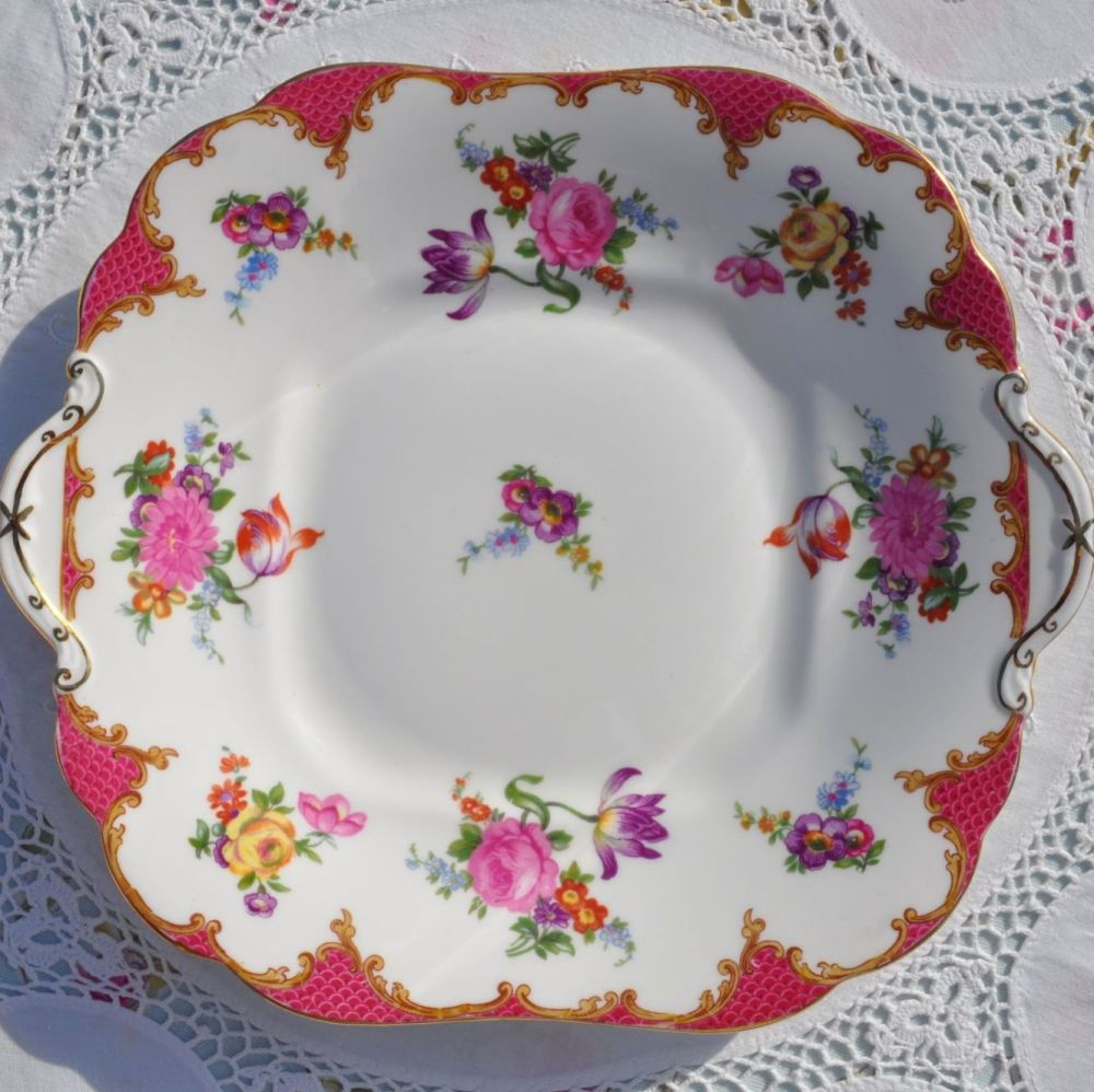 Aynsley Pink Floral English Bone China Square Vintage Cake Plate