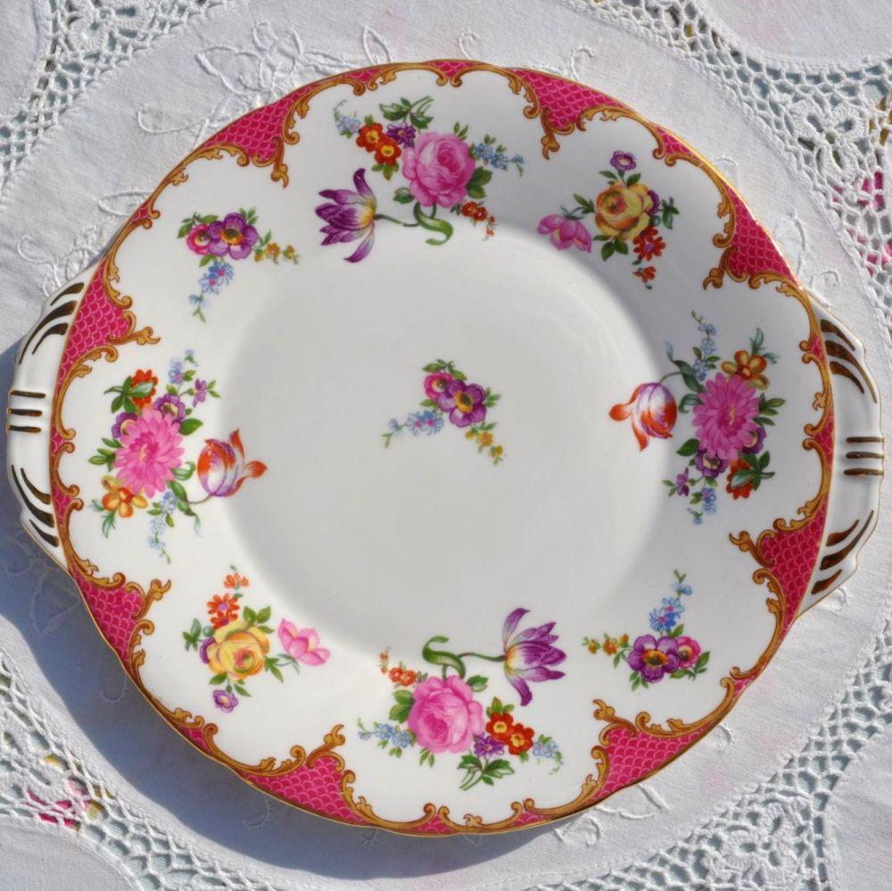 Aynsley Pink Floral English Bone China Vintage Cake Plate