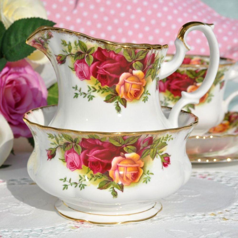 Royal Albert Old Country Roses Milk Jug and Sugar Bowl c.1962+