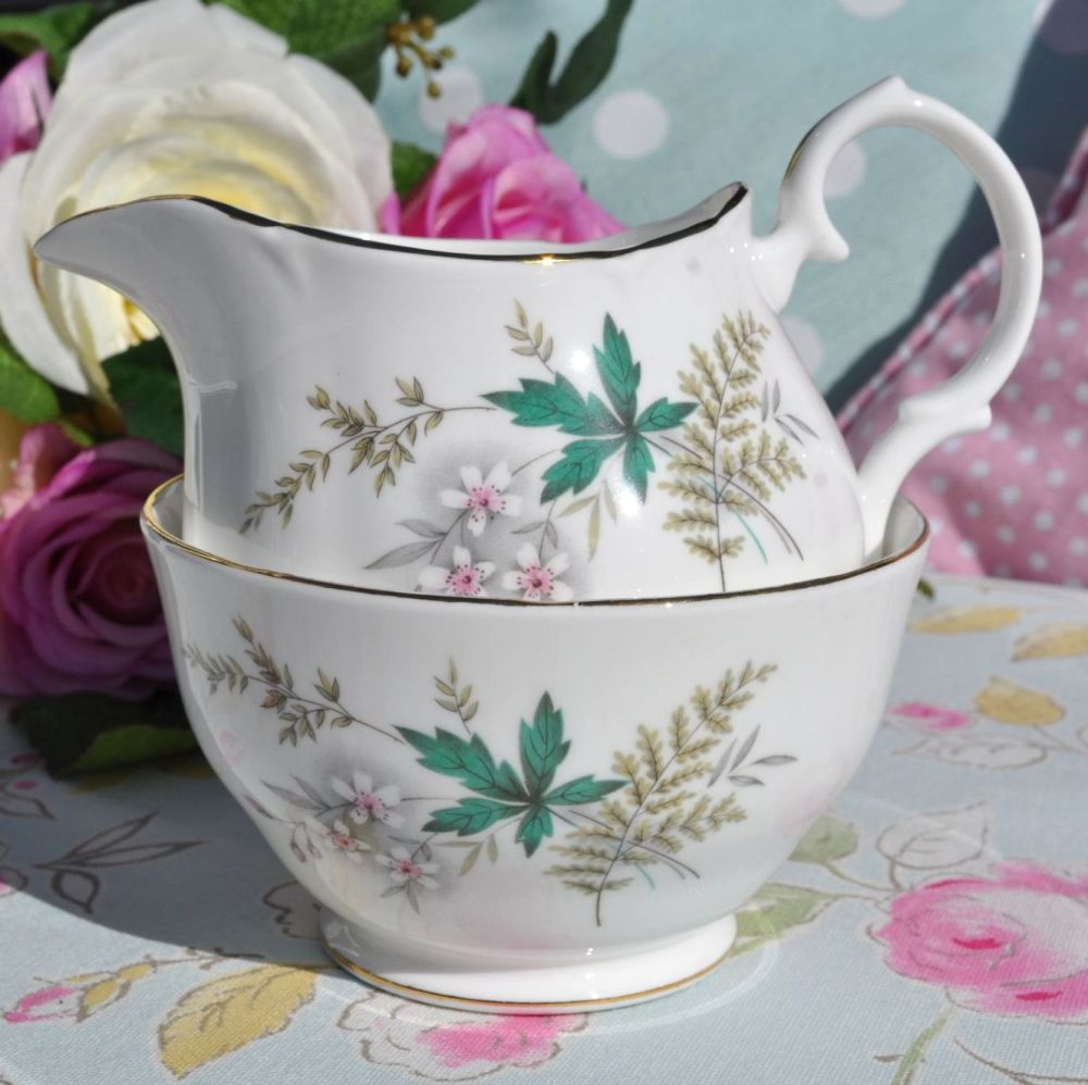 Duchess Louise Leaf Pattern Vintage Bone China Milk Jug and Sugar Bowl c.19