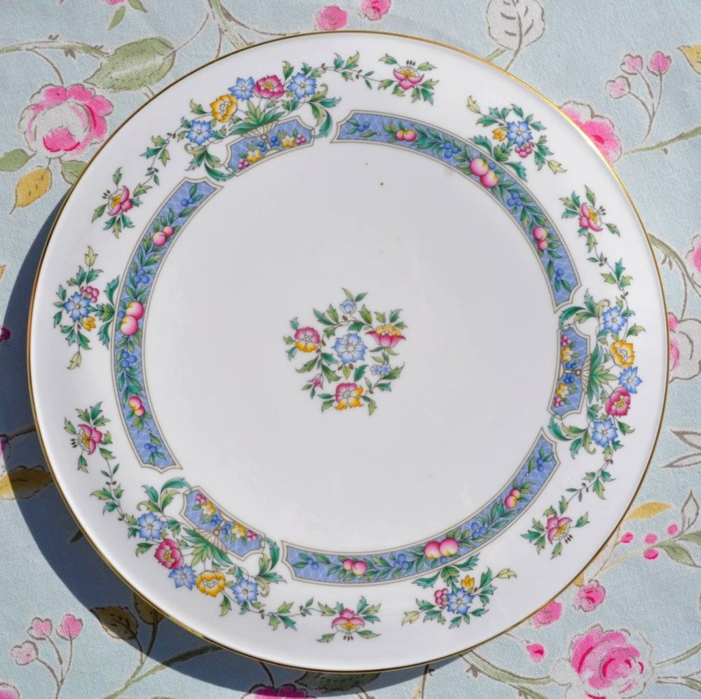Royal Worcester Vintage Floral and Blue Panels China Gateau Celebration Cak
