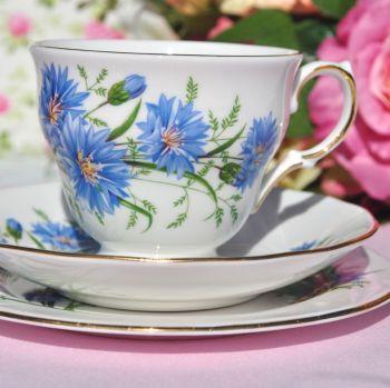 Queen Anne Cornflower Blue Vintage Bone China Tea Cup Trio