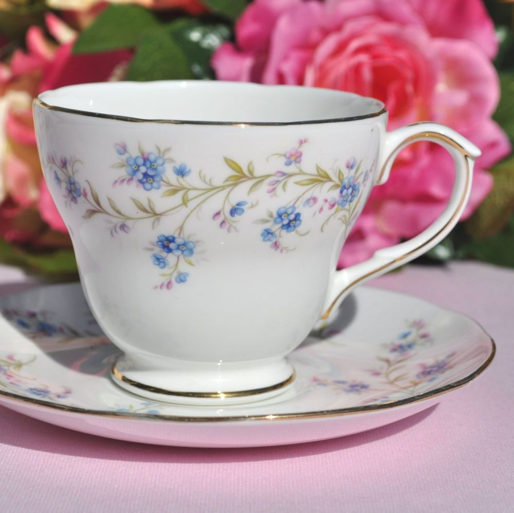 Duchess Tranquility Vintage Blue Forget-Me-Not Pattern Teacup & Saucer  c.1