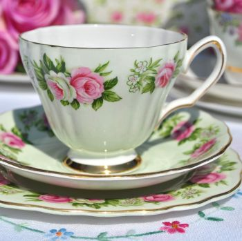 Colclough Enchantment Pink Roses Vintage Tea Cup Trio in Green