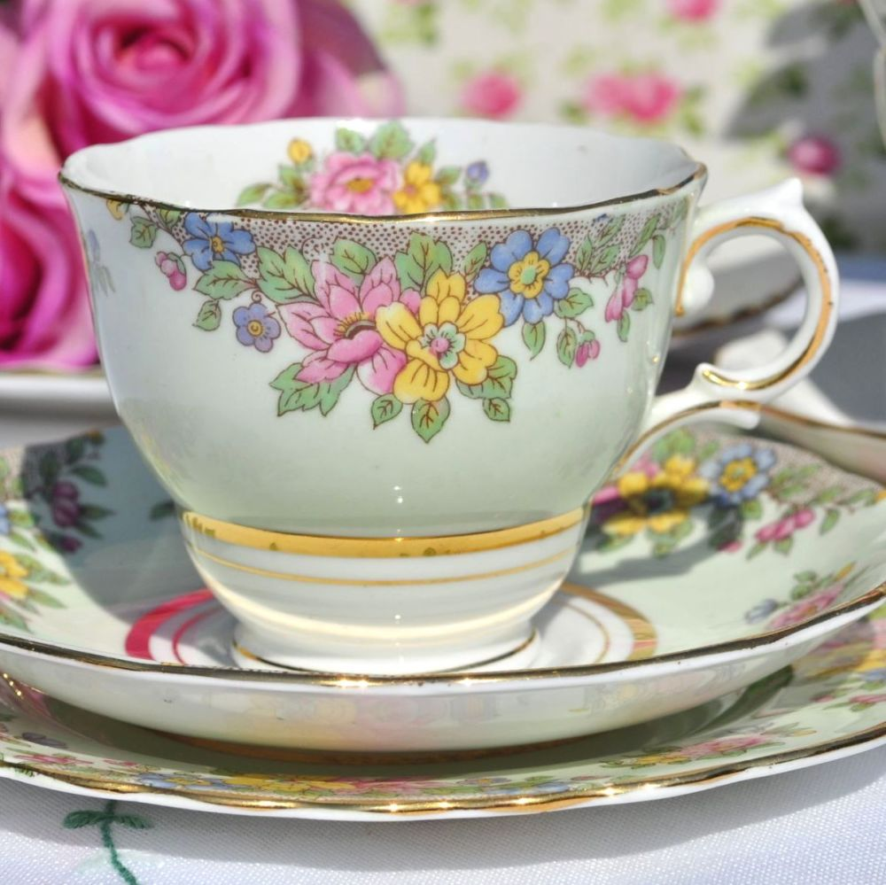 Colclough Green Vintage Tea Cup Trio with Pretty Flowers