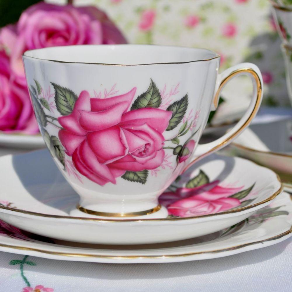 Colclough Pink Roses Bone China Vintage Tea Cup Trio