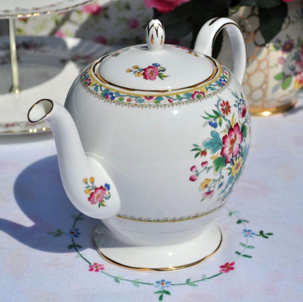Foley Ming Rose Pattern Vintage Bone China Teapot c.1950s