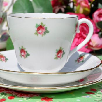 Adderley Ditsy Pink Rose Pattern Fine China Teacup Trio