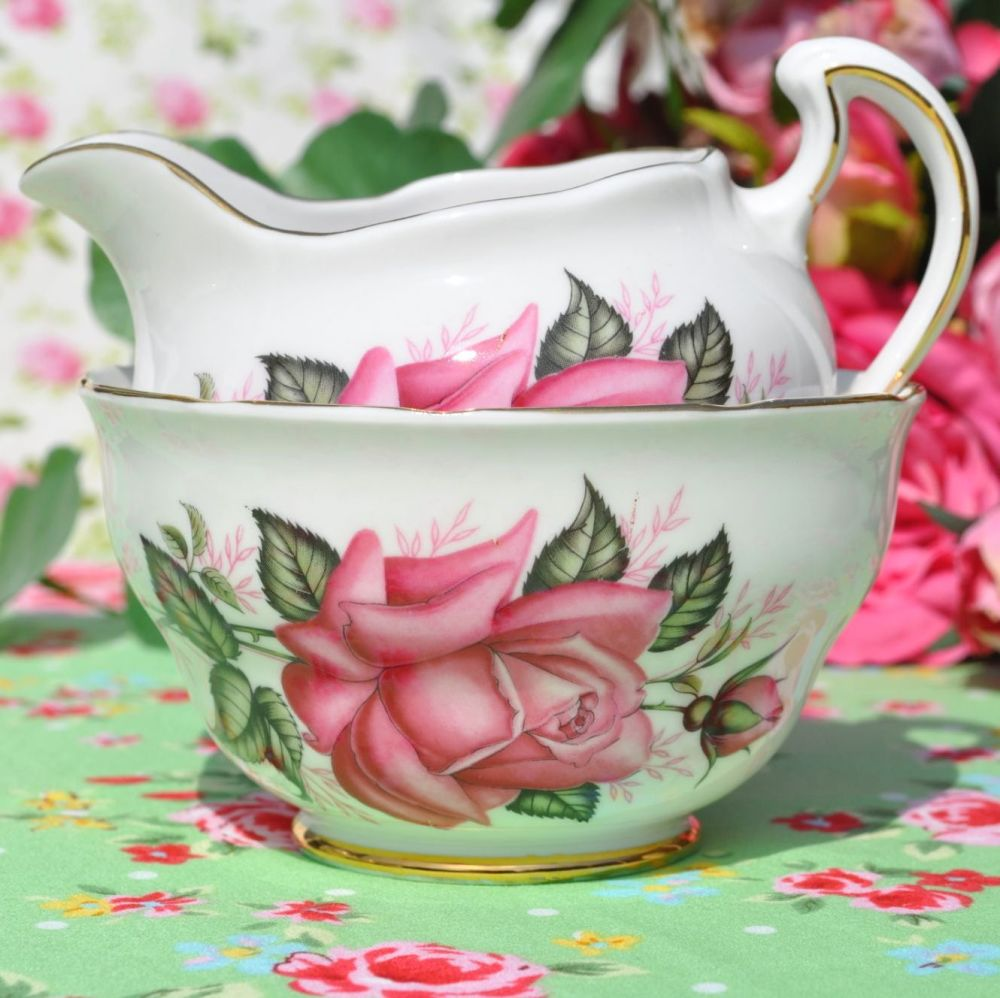 Colclough Pink Roses Vintage China Milk Jug & Sugar Bowl