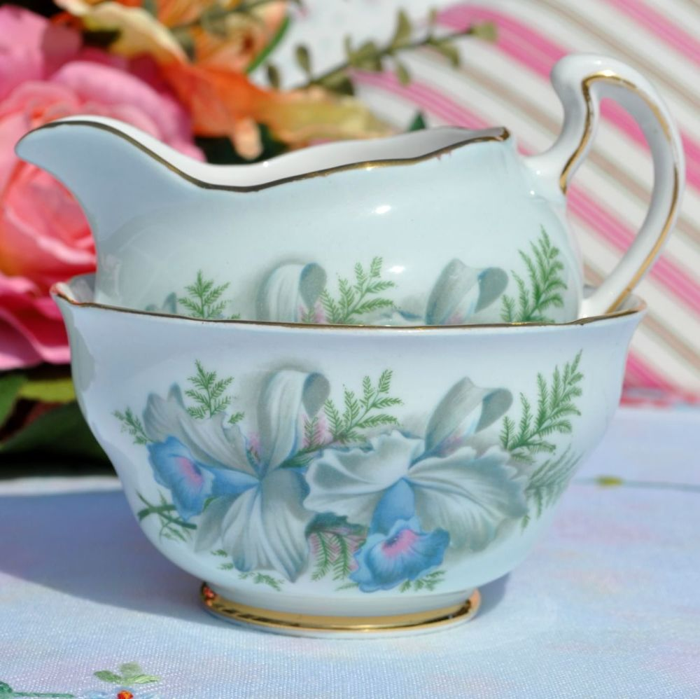 Colclough Blue Lilies Vintage Milk Jug & Sugar Bowl