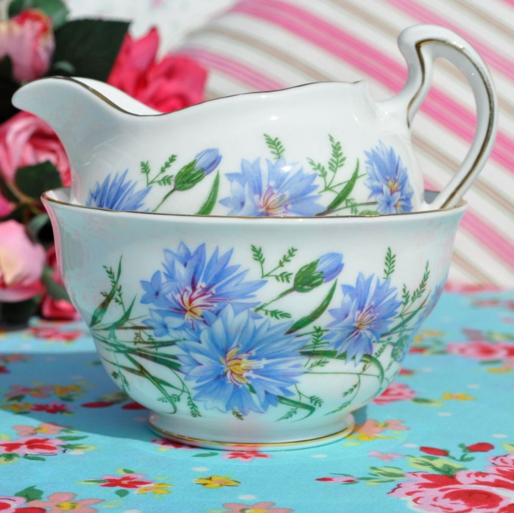 Royal Vale Cornflower Milk Jug & Sugar Bowl