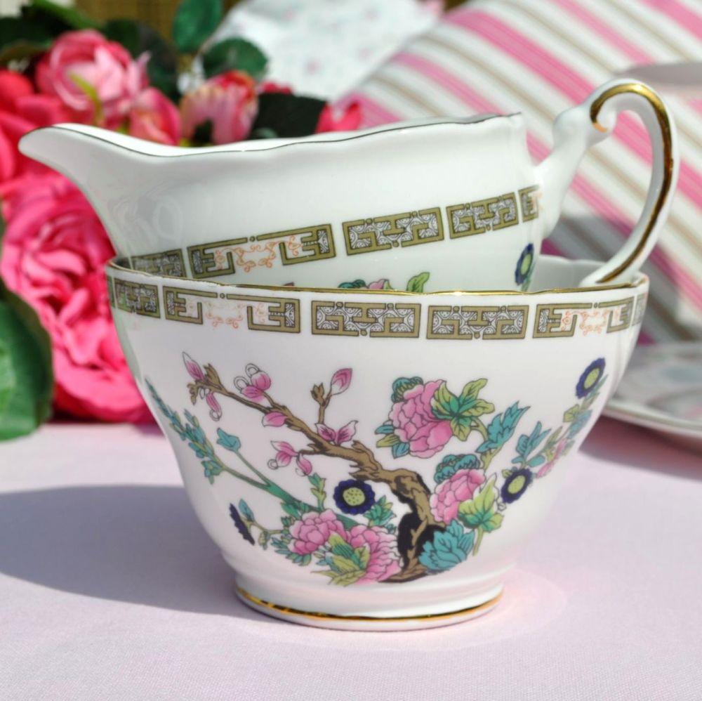 Regency Indian Tree Vintage Bone China Milk Jug & Sugar Bowl