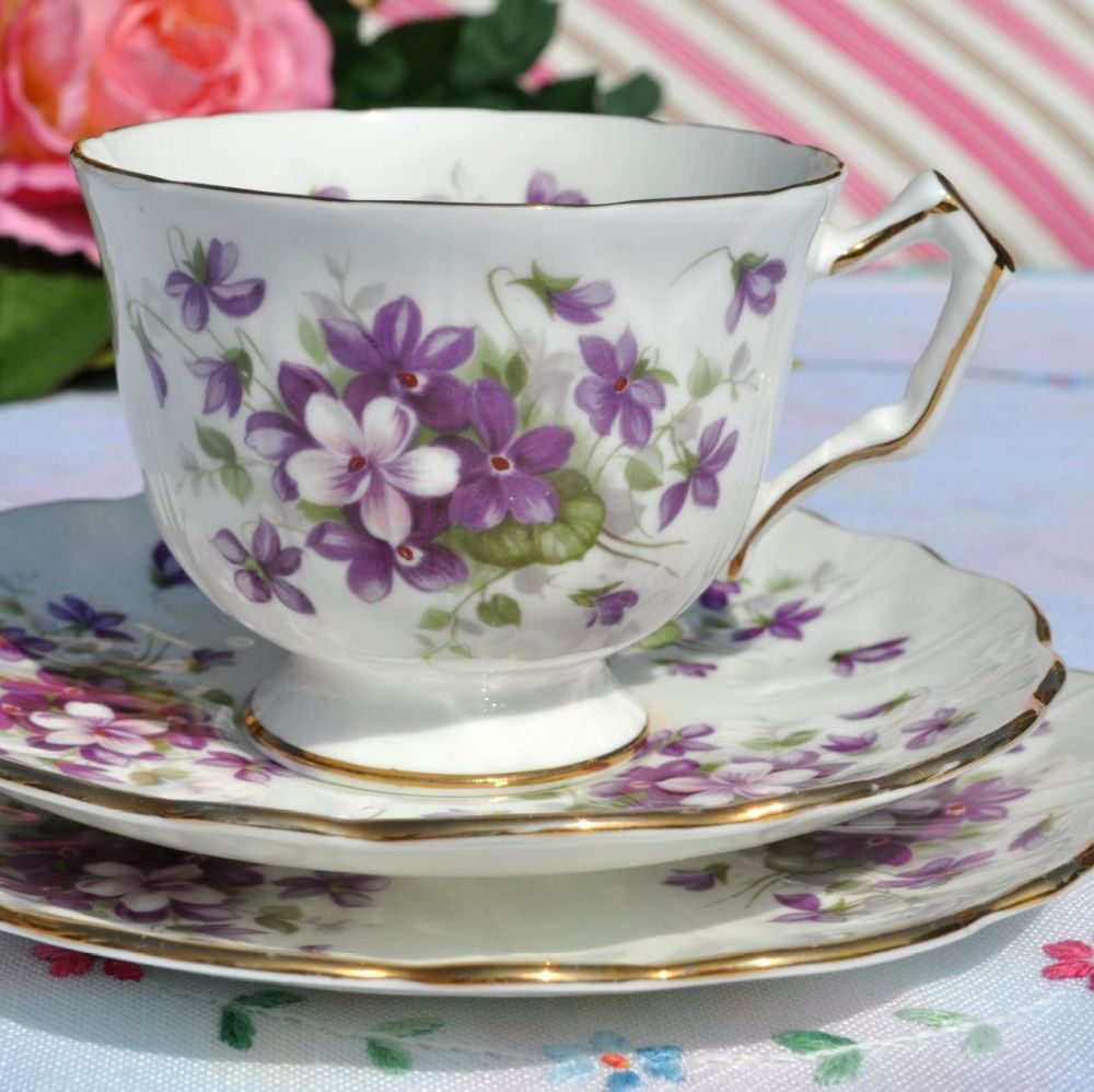 Aynsley Violette Vintage China Teacup, Saucer and Tea Plate Trio