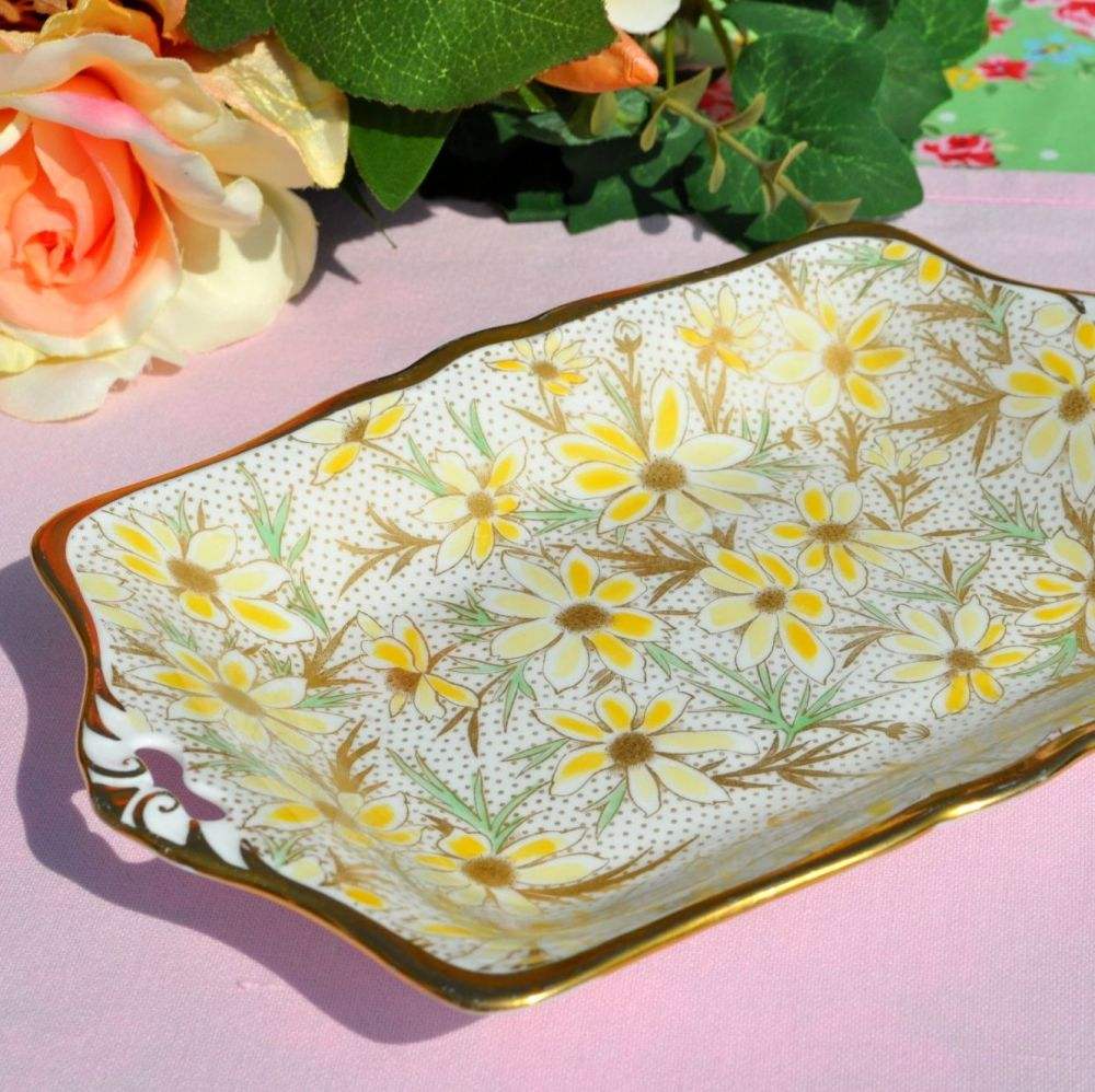 Tuscan Sunflower Hand Painted Vintage China Biscuit Tray c.1947+