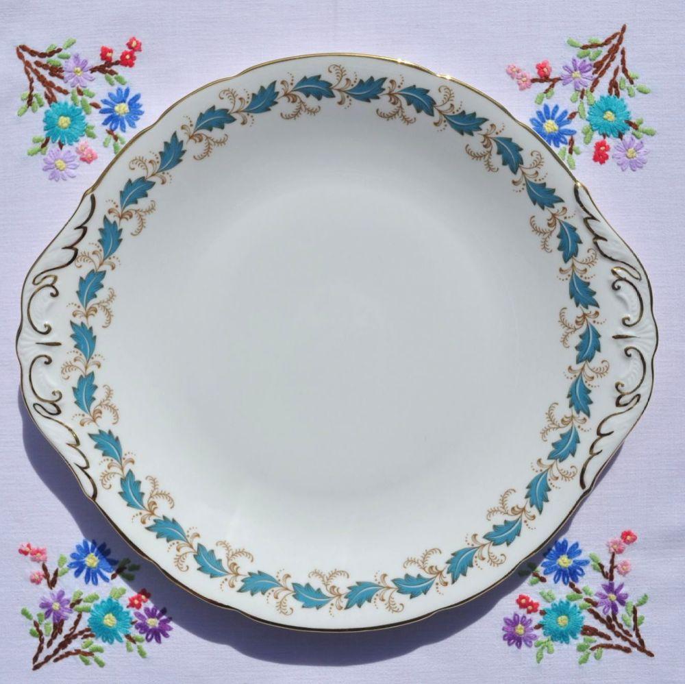 Paragon Affection Blue Leaf Pattern Cake Plate