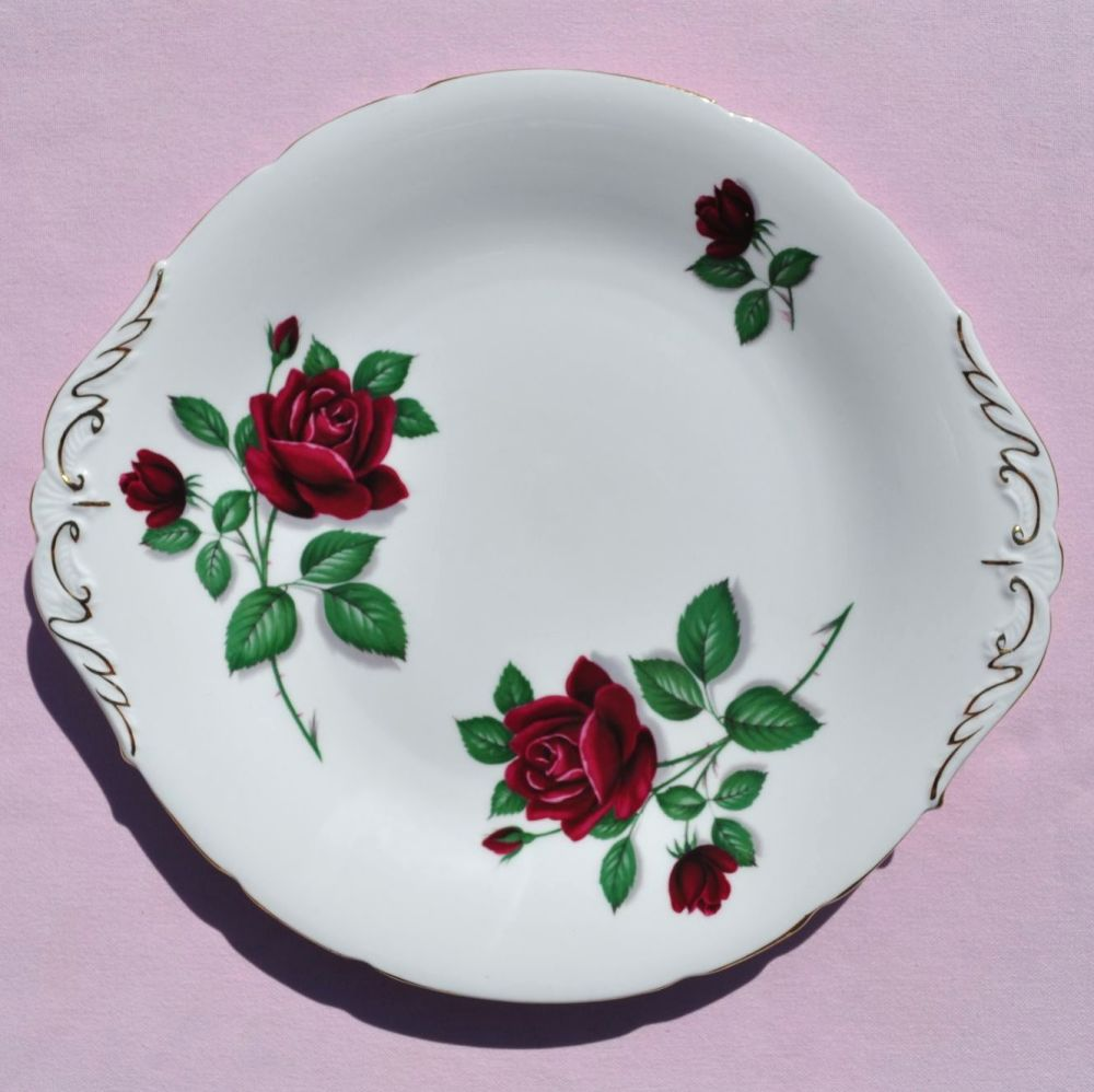 Paragon Red Rose English Vintage China Cake Plate c.1960s